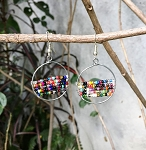 Circle Earrings with Beaded Stripes