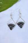 Rhombus Earrings with Beaded Arch