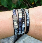 Triple Wrap Leather Bracelet with Different Style Beads