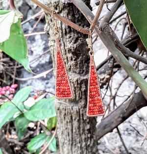 Long Triangle Beaded Earrings